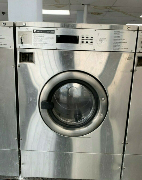 MAYTAG FRONT LOAD WASHER 35LB COIN OP STAINLESS STEEL S/N: 21003218EP USED