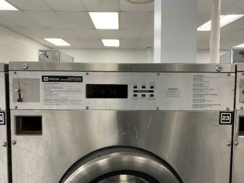 MAYTAG FRONT LOAD WASHER 50LB COIN OP STAINLESS STEEL S/N: 21000626CL USED
