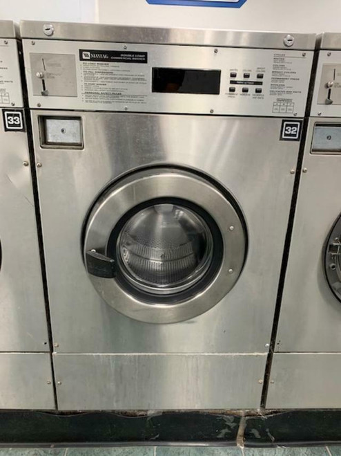 MAYTAG FRONT LOAD WASHER 25LB COIN OP STAINLESS STEEL S/N: 21000621EG USED