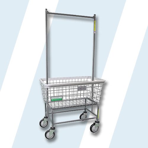 R&B Wire #200F56/ANTI ANTIMICROBIAL LARGE CAPACITY LAUNDRY CART W/ DOUBLE POLE RACK