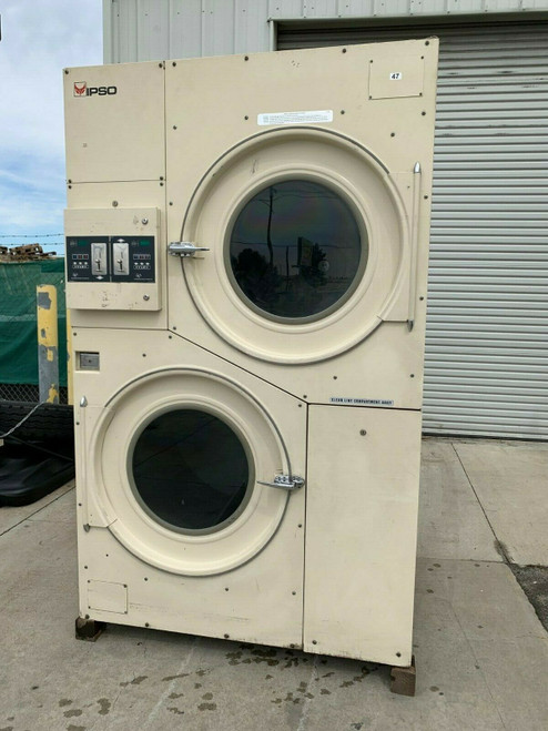 IPSO/CISSELL 75LB STACK DRYER, TWO POCKET, 3PH MODEL L36DSS36G SERIAL 1606000150
