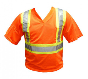 Orange Short Sleeve Mesh Shirt Front
