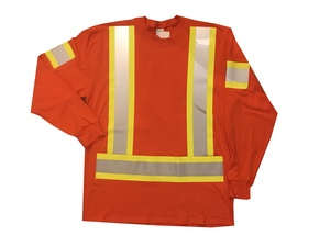 Orange Hi Vis Long Sleeve T-Shirt Front