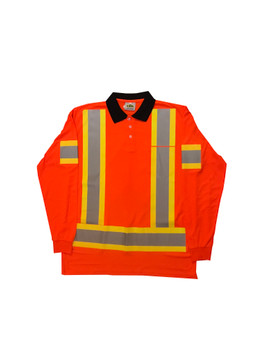Hi Vis Mesh Long Sleeve Polo Front