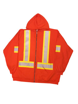 Orange Hi Vis Full Zip Hooded Sweatshirt Front