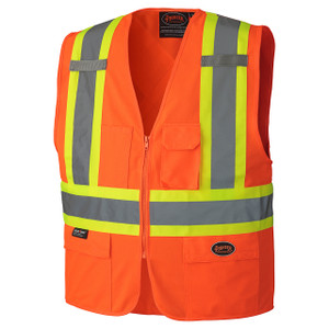 Hi-Viz Zipper Front Safety Vest - Orange