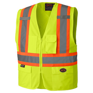 Hi-Viz Zipper Front Safety Vest - Lime