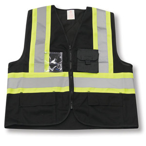 Black 100% Polyester Zipper Safety Vest