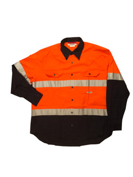 Orange/Navy Work Shirt Front