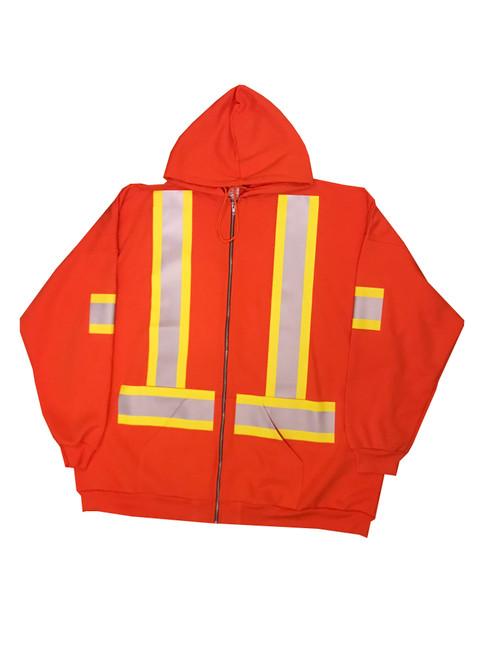 Orange Hi Vis Full Zip Hooded Sweatshirt Front