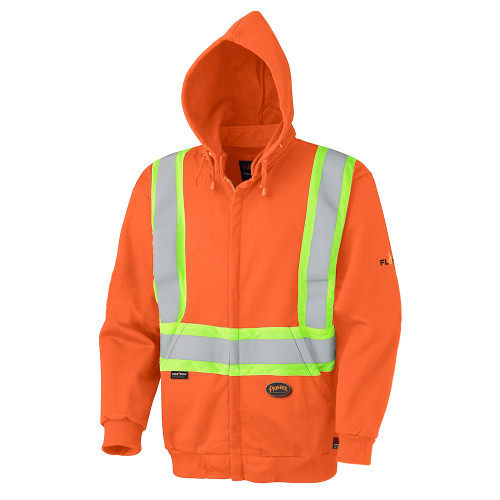 Flame Resistant Zip Style Heavyweight Cotton Safety Hoodie - Orange