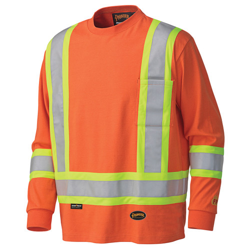 Flame Resistant Long-Sleeved Cotton Safety Shirt Orange