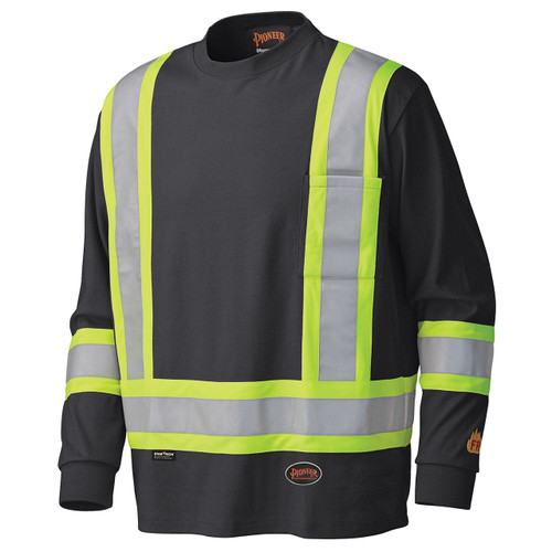 Flame Resistant Long-Sleeved Cotton Safety Shirt Black