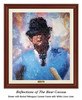 """""""Reflections of the Bear"""" canvas shown in our Burled Mahogany frame with white linen liner."""