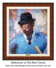 """""""Reflections of the Bear"""" canvas shown in our Ornate Mahogany frame with white linen liner."""