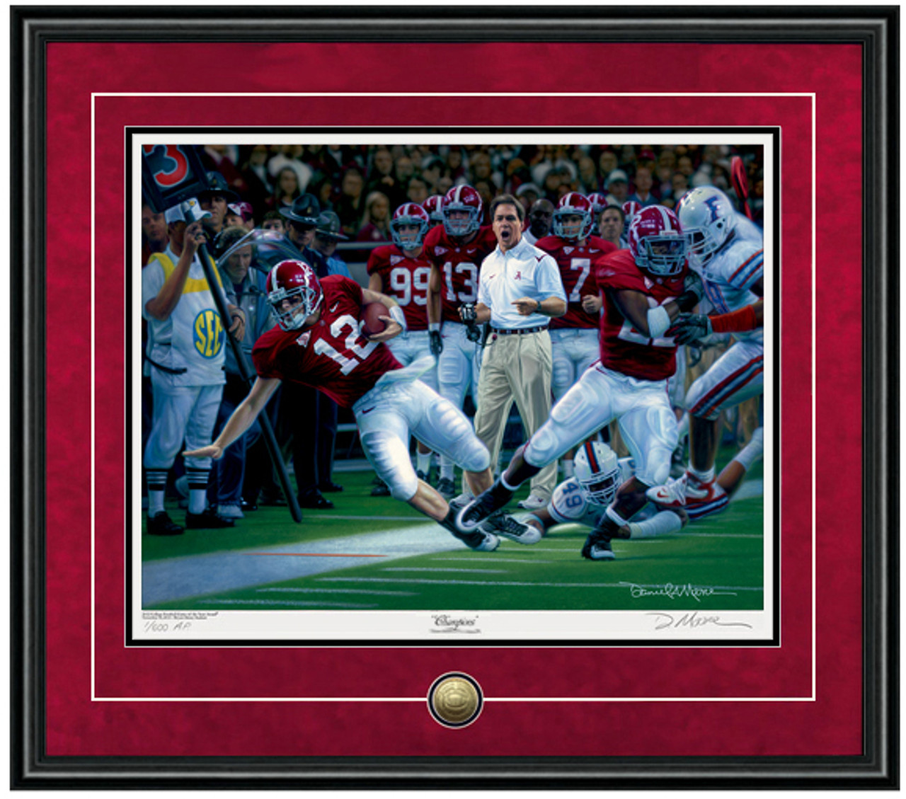 Alabama Football SEC Champions vs Featuring Greg McElroy Framed Print Florida by Daniel Moore