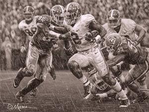 """The Washout"" - Pencil Drawing - Alabama Football vs. Georgia 2015 (Derrick Henry)"