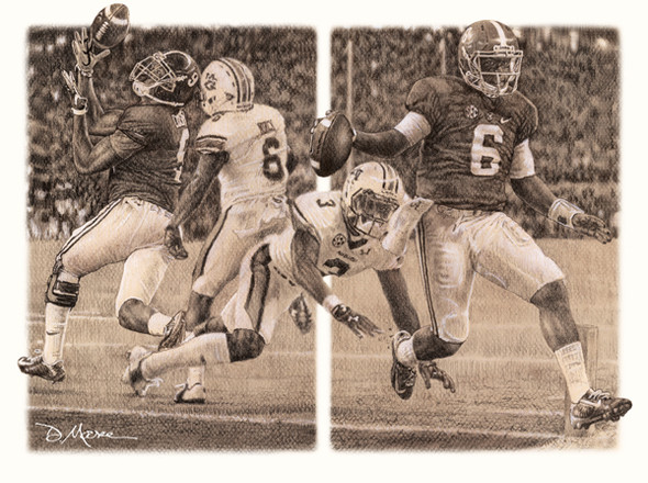 """The Game Changers"" - Pencil Drawing - Alabama Football vs. Auburn 2014"