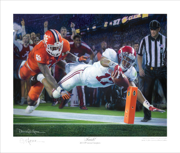 """Finish!"" - Collegiate Classic 8x10 - Alabama Football 2015 National Champions (Kenyan Drake)"
