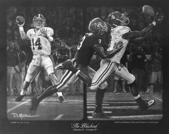 """The Blackout"" - Pencil Drawing - Alabama Football vs. Georgia 2008"