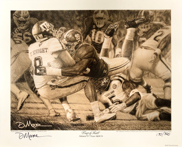 """Leap of Faith"" - Pencil Drawing (Alabama Football vs. Texas A&M 2016)"