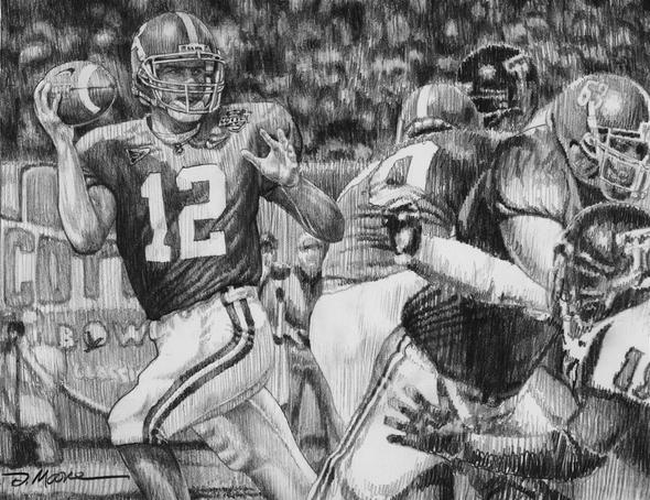 """The Last Pass"" - Pencil Drawing - Alabama Football vs. Texas Tech 2006 (Cotton Bowl)"