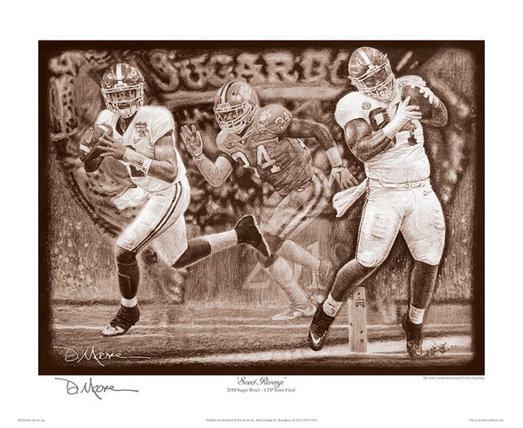 """Sweet Revenge"" - Pencil Drawing - Alabama vs. Clemson - CFP Semi-Finals - 2018 Sugar Bowl"