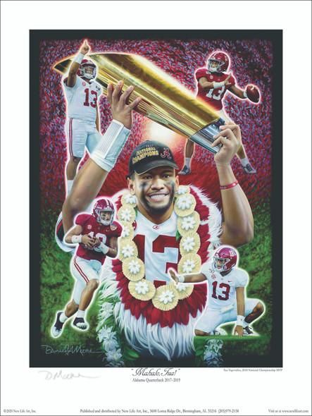 """""""Mahalo, Tua!"""" - Collegiate Classic 8x10 Print - Tua Tagovailoa Moments"""