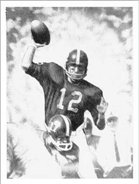 """Third Saturday"" Pencil Study (Unframed) - Alabama Football vs. Tennessee 1962 (Joe Namath)"