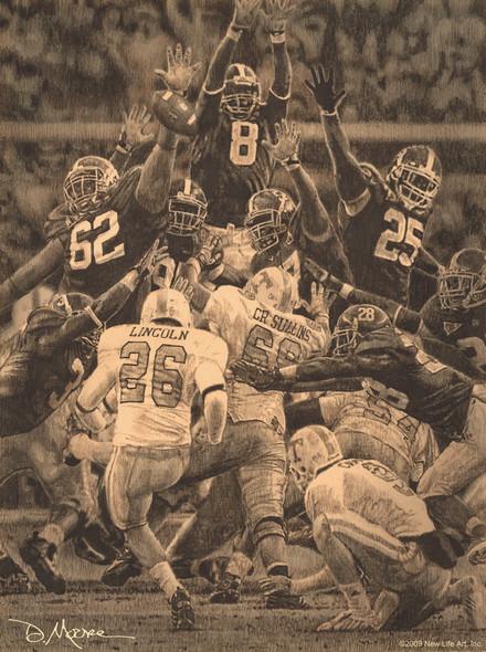 """Maximum Block"" - Pencil Drawing (Unframed) - Alabama Football vs. Tennessee 2009"
