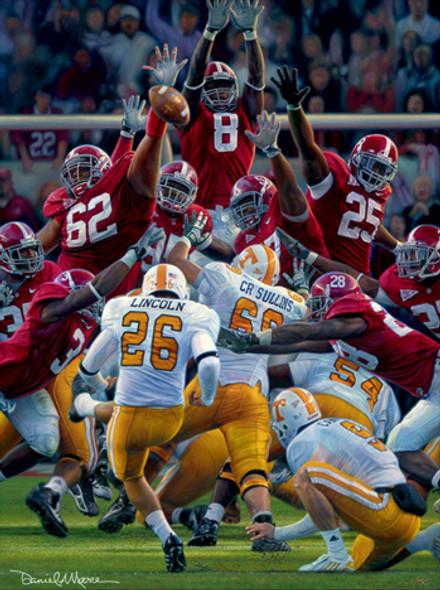 """Maximum Block"" - Collegiate Classic 8x10 (Unframed) - Alabama Football vs. Tennessee 2009"