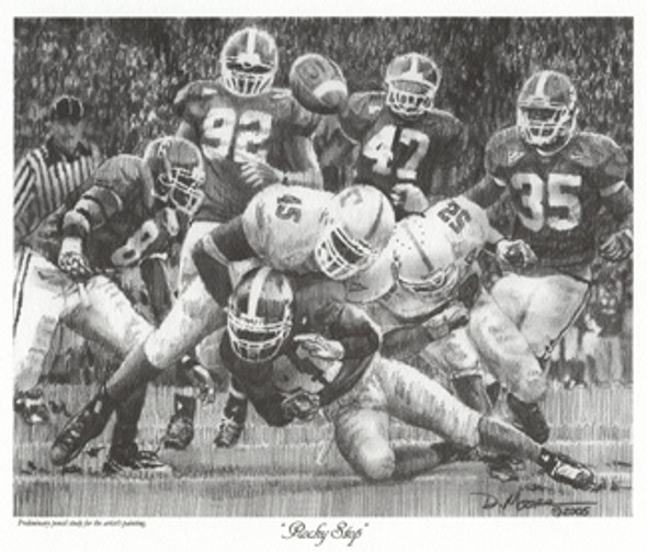 """""""Rocky Stop"""" - Pencil Drawing (Unframed) - Alabama Football vs. Tennessee 2005"""