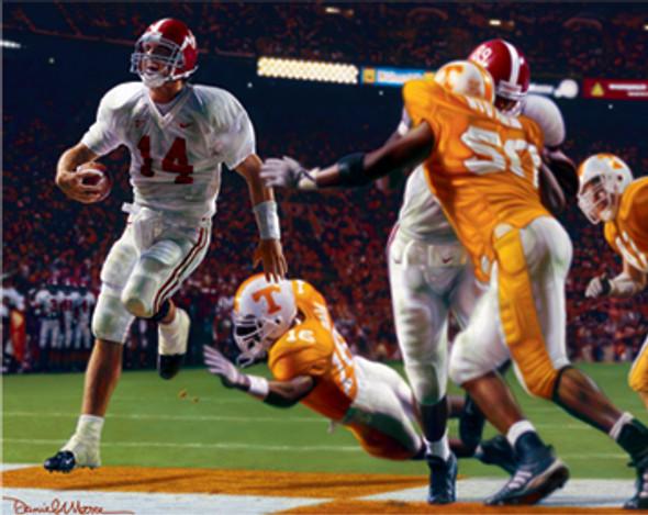 """Running Through the T"" - Collegiate Classic 8x10 (Unframed) - Alabama Football vs. Tennessee 2002"