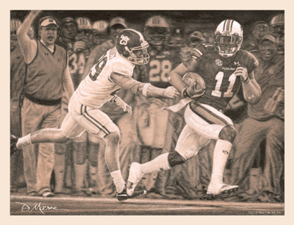 """The Runback"" - Pencil Drawing - Auburn Football vs. Alabama 2013"