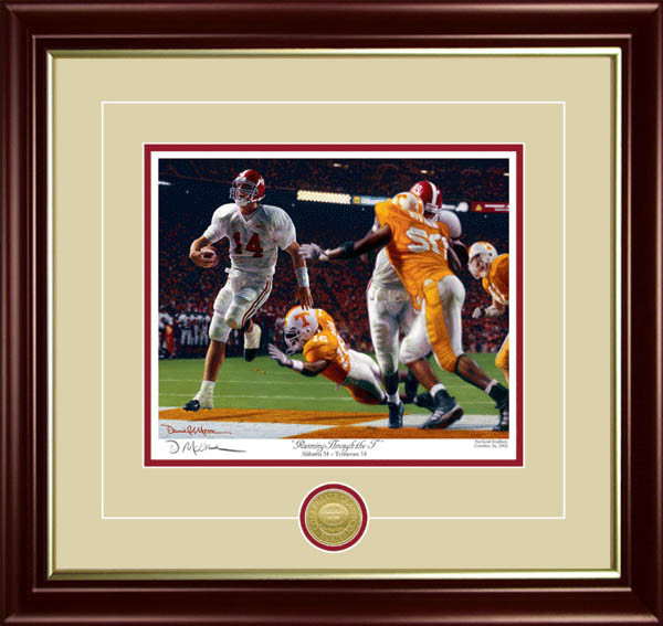 """Running Through the T"" - Collegiate Classic 8x10 - Alabama Football vs. Tennessee 2002"