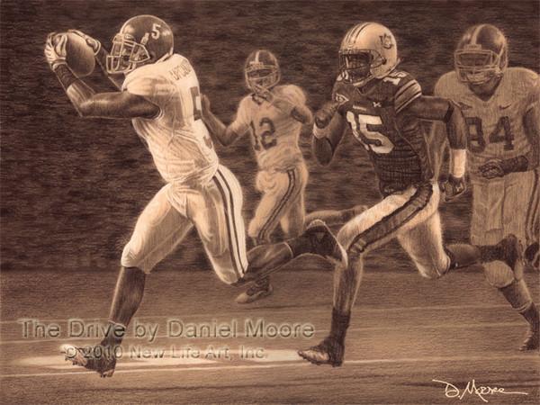 """The Drive"" - Pencil Drawing - Alabama Football vs. Auburn 2009"