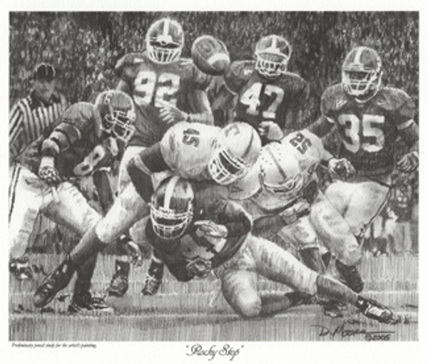 """""""Rocky Stop"""" - Pencil Drawing - Alabama Football vs. Tennessee 2005"""