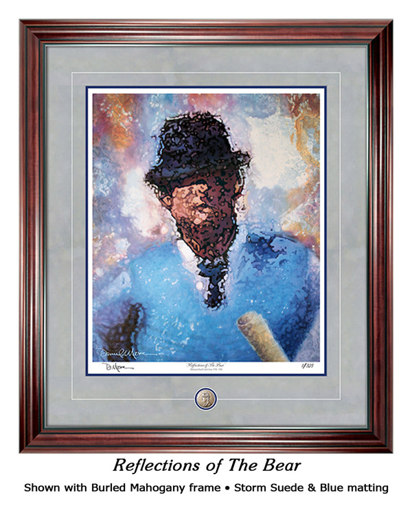 """Reflections of the Bear"" print shown in our Burled Mahogany frame with Storm Suede/Blue matting."