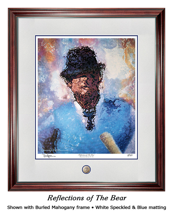 """Reflections of the Bear"" print shown in our Burled Mahogany frame with White Speckled/Blue matting."
