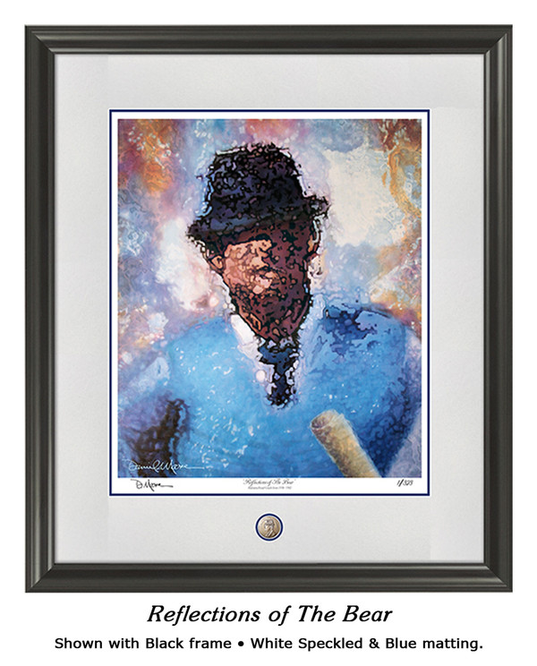 """Reflections of the Bear"" print shown in our Black frame with White Speckled/Blue matting."