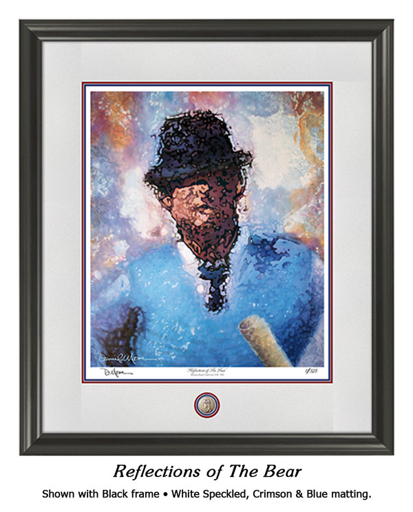 """Reflections of the Bear"" print shown in our Black frame with Speckled White/Crimson/Blue matting."