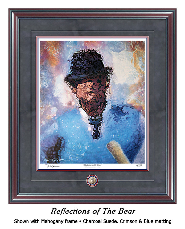 """Reflections of the Bear"" print shown in our Mahogany frame with Charcoal Suede/Crimson/Blue matting."