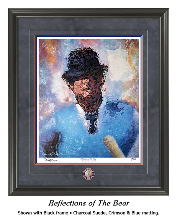 """Reflections of the Bear"" print shown in our Black frame with Charcoal Suede/Crimson/Blue matting."