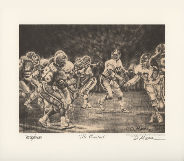 """The Comeback"" - Pencil Drawing - Alabama Football vs. Georgia 1985 (Mike Shula)"