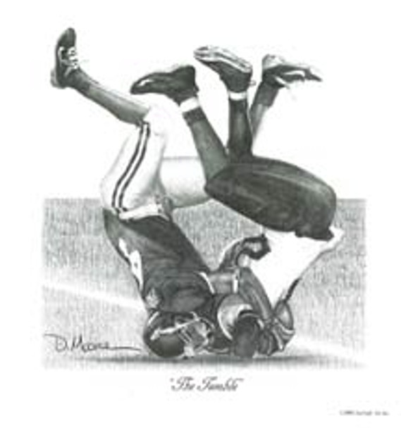 """""""The Tumble"""" - Pencil Drawing - Alabama Football vs. Southern Mississippi 2005"""