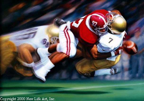 """The Sack"" - Collegiate Classic 8x10 - Alabama Football vs. Notre Dame 1986 (Cornelius Bennett)"
