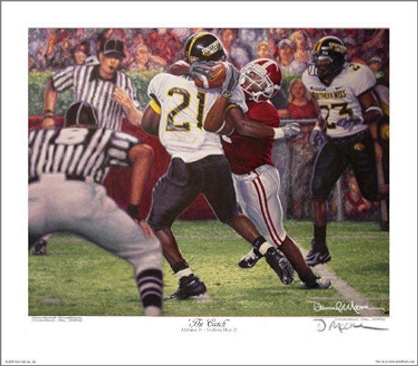 """""""The Catch"""" - Collegiate Classic 8x10 - Alabama Football vs. Southern Mississippi 2005 (Tyrone Prothro)"""