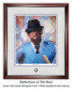 """""""Reflections of the Bear"""" print shown in our Burled Mahogany frame with White Speckled/Blue matting."""