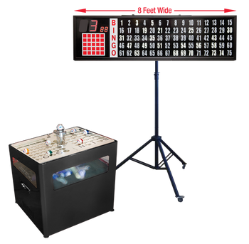 Professional Table Top bingo blower, 8 foot Flashboard, Stand with Verifier