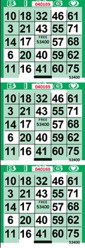 Double Cross Green Bingo Paper by the Case
